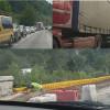 (VIDEO) Bătaie de joc! Blocaje în trafic de zeci de minute la podul de la Preluca. Reparațiile se fac la ralanti